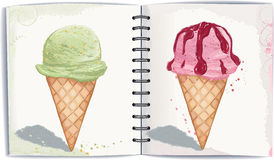 Ice cream. Vector illustration of two waffle cones with ice cream in watercolor technique. All objects are separated to layers stock illustration