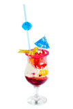 Ice cream with jam. Drinks, ice, cream, cocktail, food, glass, milkshake, freshness, milk, sweet, vanilla, temperature, drinking, refreshment, dessert, gourmet Royalty Free Stock Photo