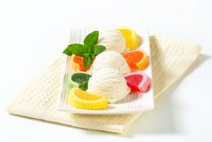 Ice cream with jelly candy Stock Image