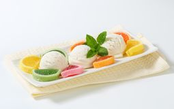 Ice cream with jelly candy Royalty Free Stock Images