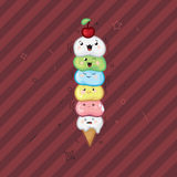 Ice cream kawaii waffle cone funny face on a dark red background Royalty Free Stock Images