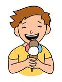 Ice cream kid. Little kid with big smile eating an ice cream - Vector cartoon style illustration Stock Image