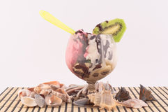 Ice cream with Kiwi. Ice cream with chocolate decoration and sea shells and seashells on white background stock photo