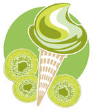 Ice-cream kiwi cone Royalty Free Stock Images