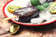 Ice cream with kiwi Royalty Free Stock Image