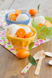 Ice cream with kumquats Stock Photo