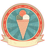 Ice cream label set on old paper texture.Grunge Royalty Free Stock Photography