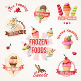 Ice cream labels and badges collections Royalty Free Stock Photo