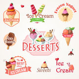 Ice cream labels and badges collections Stock Image