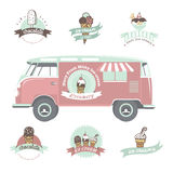 Ice cream labels, badges and design elements. Stock Images