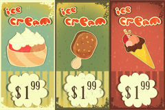 Ice cream labels in grunge style stock illustration