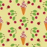 Ice cream, ladybug and cherry. Seamless pattern on yellow background. Design for textiles, tapestries, packaging, bags, goods for children Stock Photography