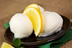 Ice cream with lemon . Stock Photo