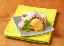 Ice cream with lemon cookies Stock Photos