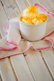 Ice cream with lemon peel Royalty Free Stock Photos