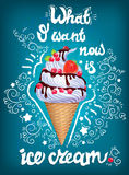 Ice cream lettering design poster Royalty Free Stock Photo