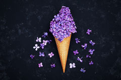 Ice cream of lilac flowers in waffle cone on black background from above, beautiful floral arrangement, vintage color, flat lay Stock Photos