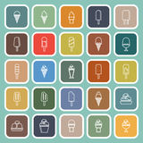 Ice cream line flat icons on green background Royalty Free Stock Photos
