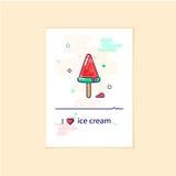 Ice cream linear icon in modern style. Watermelon ice cream.    Stock Photo
