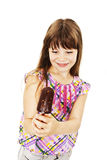 Ice cream little girl excited and happy eating ice cream. Isolated on white background stock photography