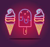 Ice cream and lolly neon icons sign decoration. Vector illustration Stock Photography