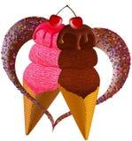 Ice cream in love. Strawberry and chocolate Ice cream cones in love cute food illustration Stock Photo