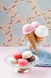 Ice cream and macaroons Royalty Free Stock Image