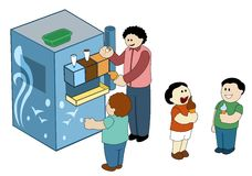 Ice Cream Machine. Children eating soft ice cream from an ice cream machine Vector Illustration