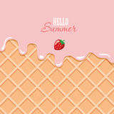 Ice cream macro texture. Melted pink cream on wafer background. Hello summer quote. Stock Image