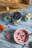 Ice cream made with mixed yogurt and blueberries Stock Photos