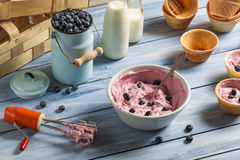 Ice cream made ??with mixed yogurt and blueberries Stock Photos