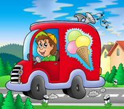 Ice cream man driving red car stock illustration