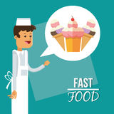 Ice cream man and fast food design Royalty Free Stock Photo