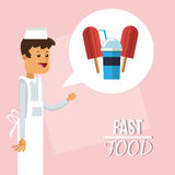 Ice cream man and fast food design Royalty Free Stock Photos