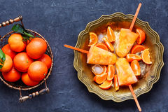 Ice cream with Mandarin Royalty Free Stock Images