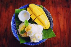 Ice cream Mango with Sticky Rice royalty free stock images