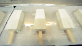 Ice cream manufacturing line. Ice cream product on conveyor line. Food industry stock video