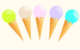 Ice cream. Many colorful delicious ice creams Stock Images