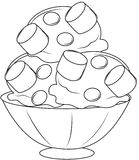 ice cream with marshmallows coloring page stock photo