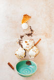 Ice cream with melting scoops, ingredients and empty vintage bowl Stock Image