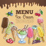 Ice cream menu color sketch on wafer background Stock Photography