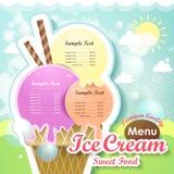 Ice cream menu cover. Restaurant ice cream menu cover vector design template Stock Photos
