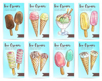 Ice cream menu dessert sketch banner set Stock Images