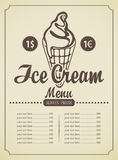 Ice cream menu Royalty Free Stock Photo