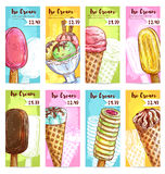 Ice cream menu price tags color sketch. Ice cream price banners. Price tags for desserts. Vector sketch ice cream assortment of scoops in glass bowl, vanilla Royalty Free Stock Photos