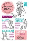 Ice cream menu restaurant, dessert food template. Ice cream restaurant menu. Vector dessert food flyer for bar and cafe. Design template with vintage hand-drawn vector illustration
