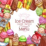 Vector ice cream desserts sketch menu poster. Ice cream menu sketch design for gelateria or ice cream cafe. Vector template of chocolate sundae eskimo or fruit Stock Photos