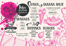 Ice cream menu template for restaurant and cafe. Ice cream menu for restaurant and cafe. Design template with hand-drawn graphic elements in doodle style Stock Image