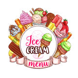 Ice cream menu vector template. Ice cream desserts restaurant or cafe menu template. Vector design of fruit or berry soft or frozen ice, ice cream scoops in Royalty Free Stock Image