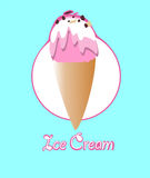 Ice cream. On mint background. Vector illustration Royalty Free Stock Image